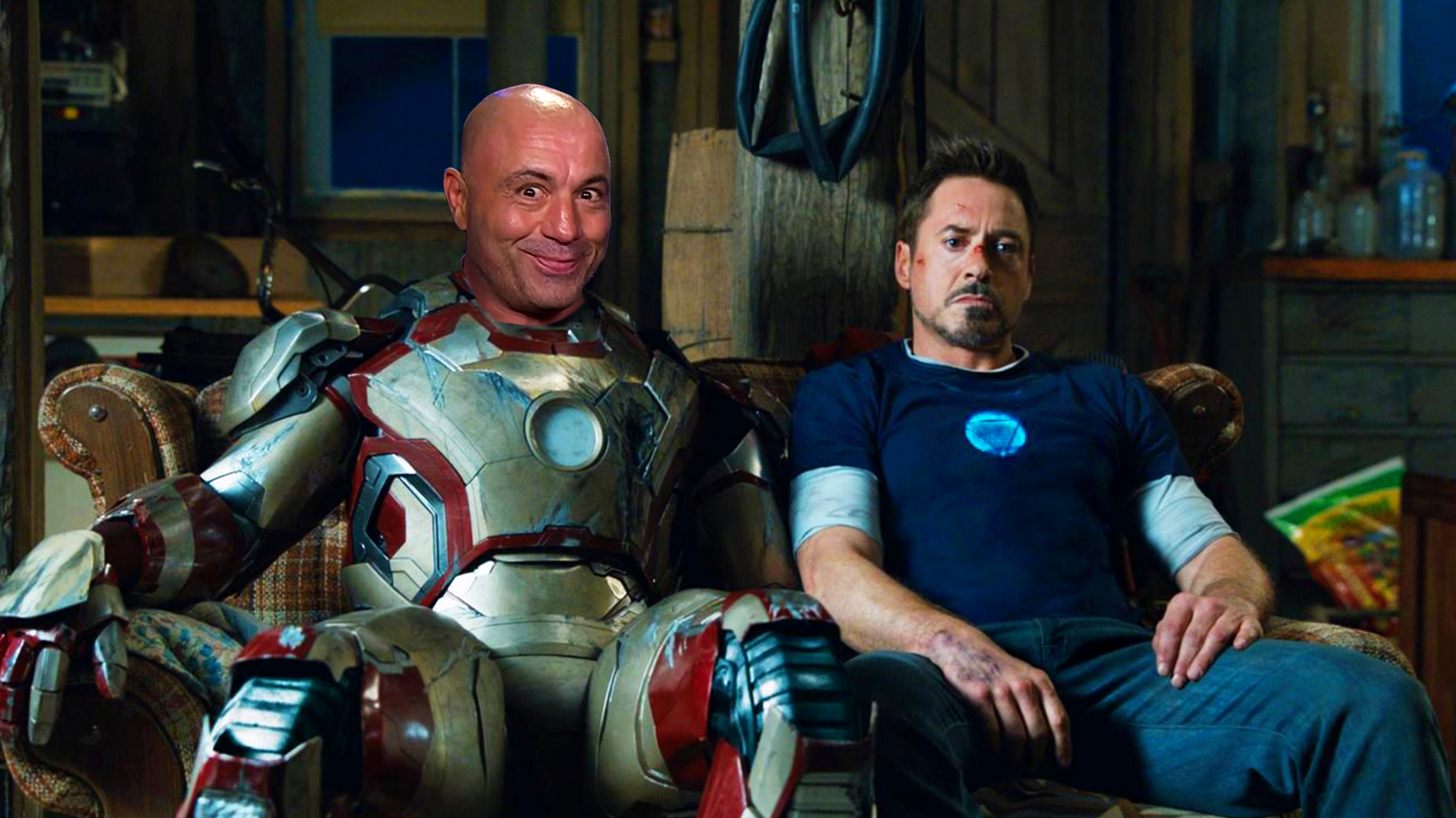 Joe Rogan as Ironman and Robert Downey Jr on a couch