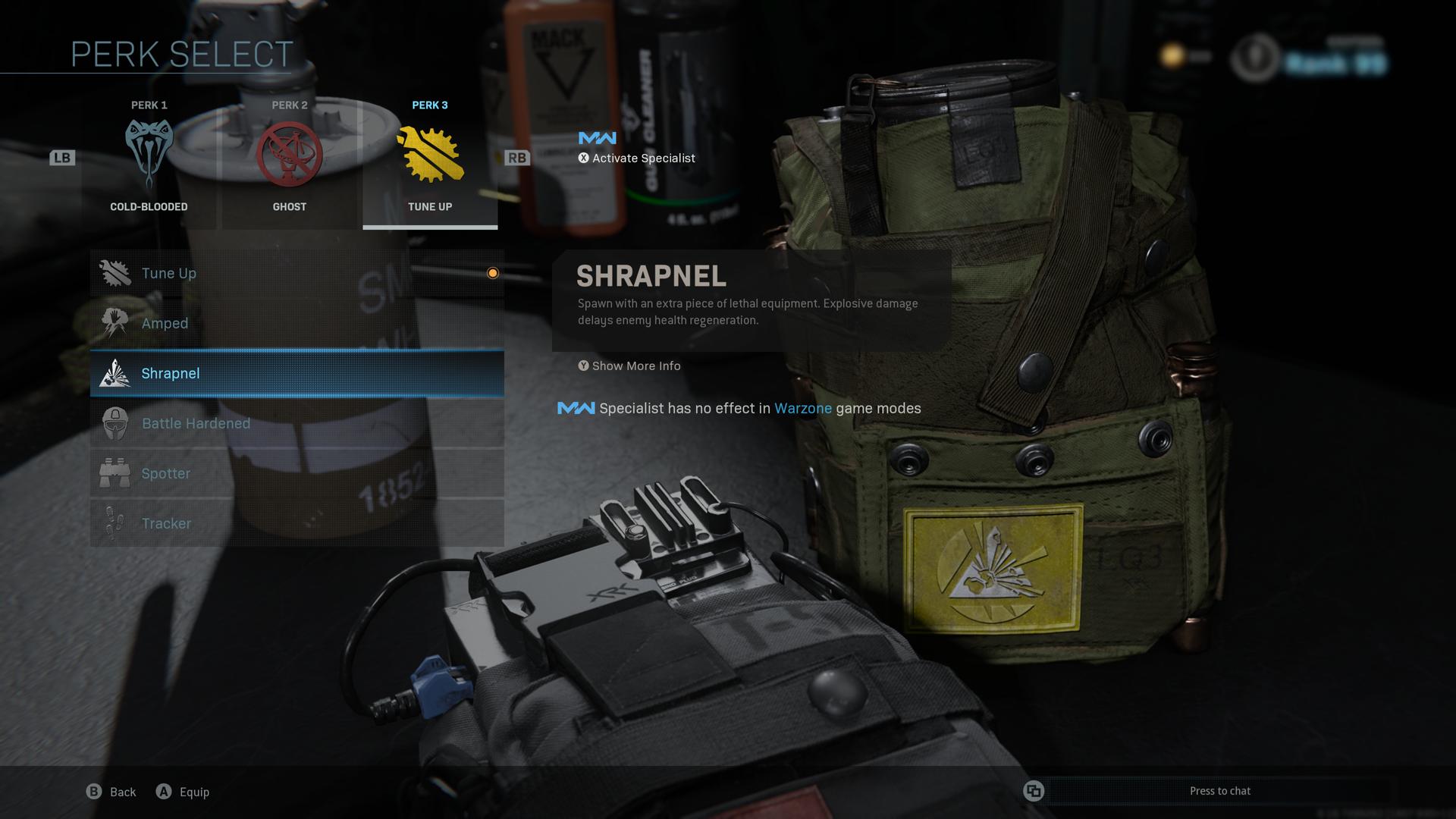 Shrapnel perk in Warzone.