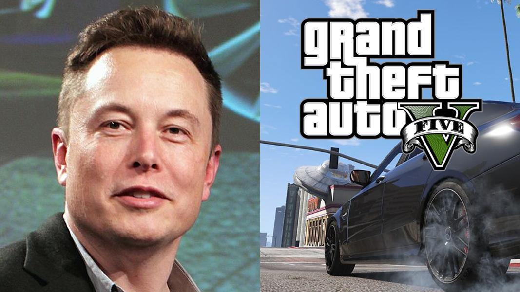 Elon Musk next to a car in GTA V