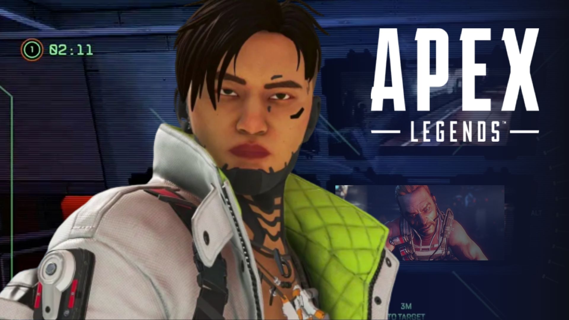 Crypto in Apex Legends in front of bunker message