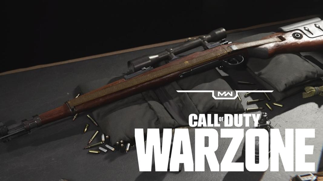 Kar98k in Modern Warfare Gunsmith, with Warzone Logo