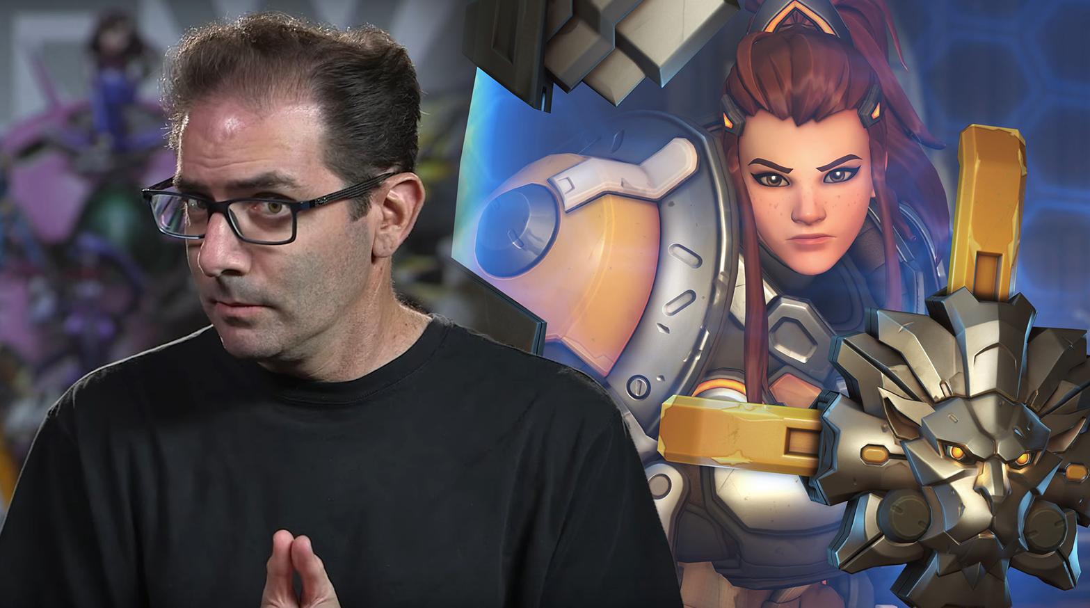 Jeff Kaplan talking to camera / Overwatch hero Brigitte in game