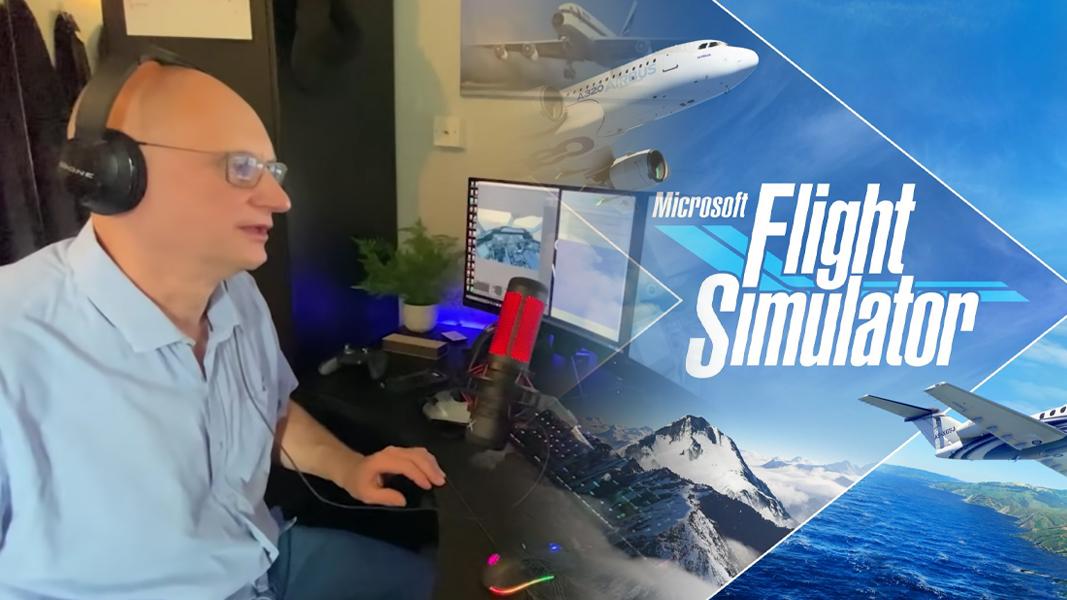 Nick the pilot next to Flight Simulator