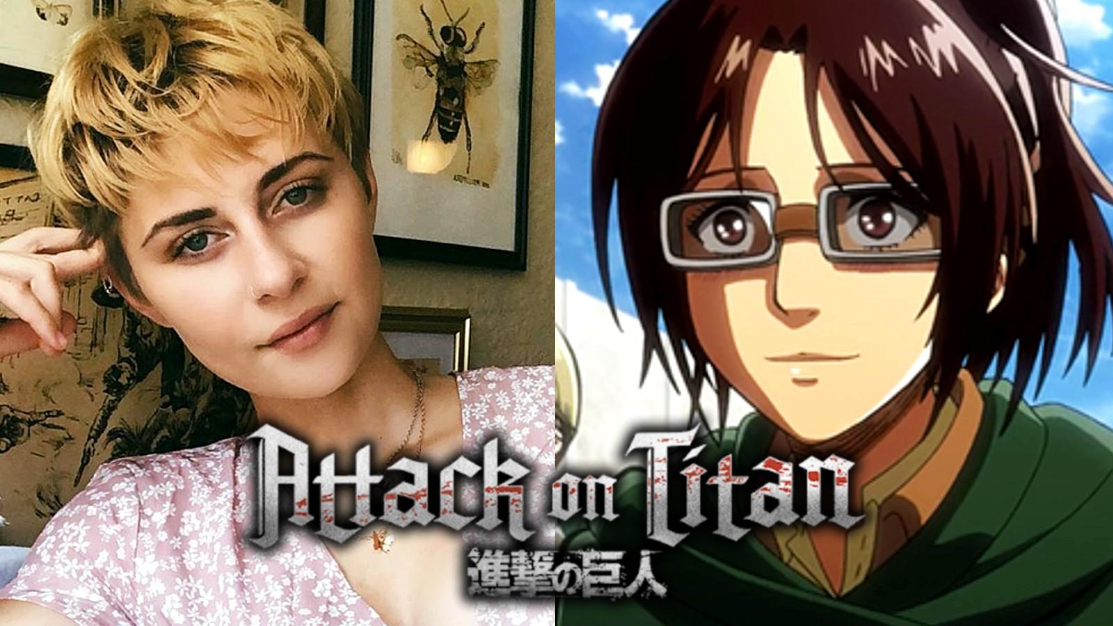 Attack of Titan Hanji cosplayer with AOT logo