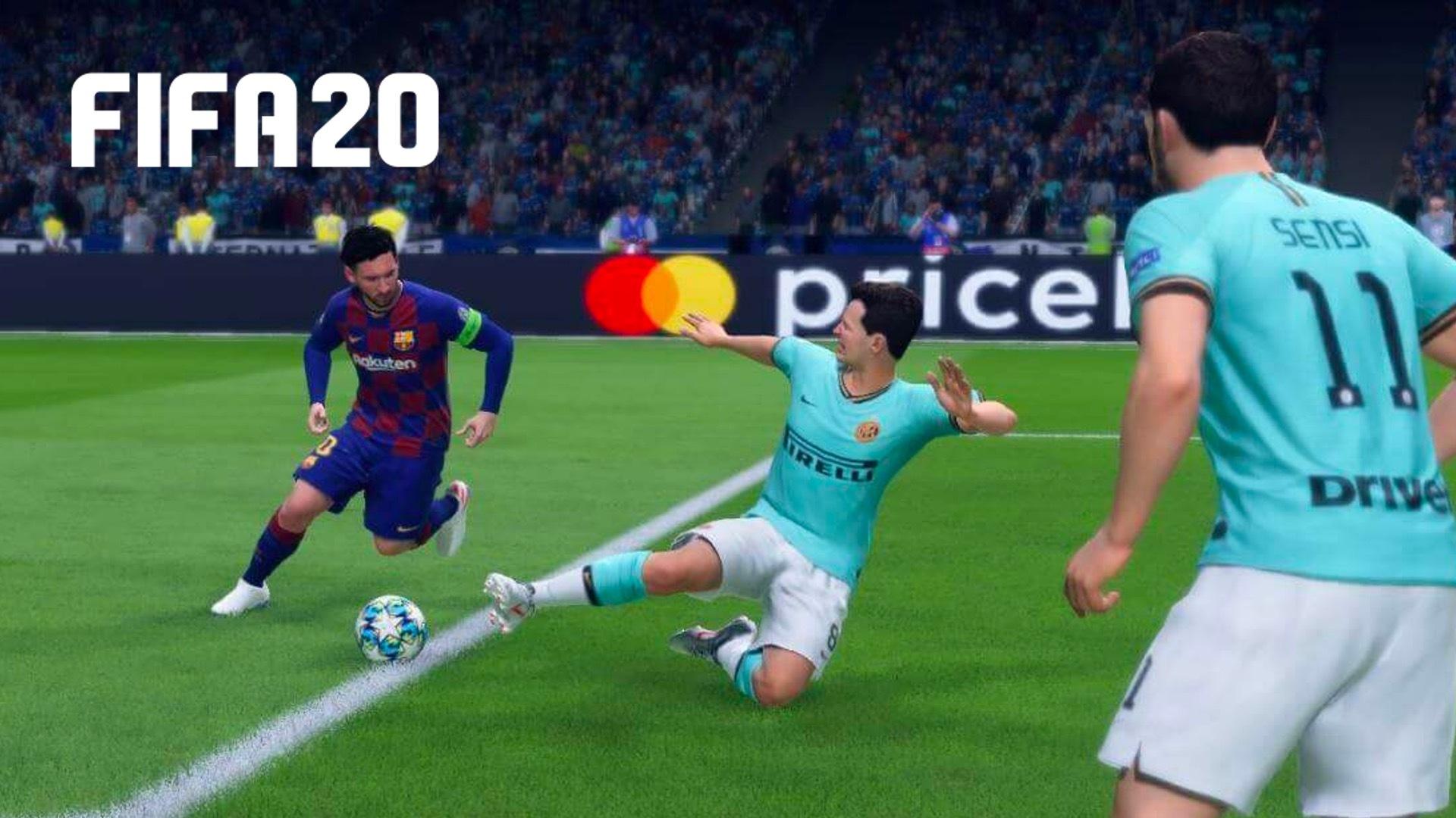 FIFA 20 player slide tackling Lionel Messi