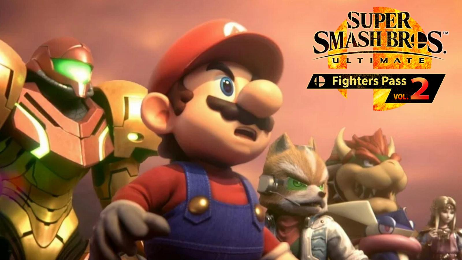 Mario, Samus and Fox stare ahead on a cliff