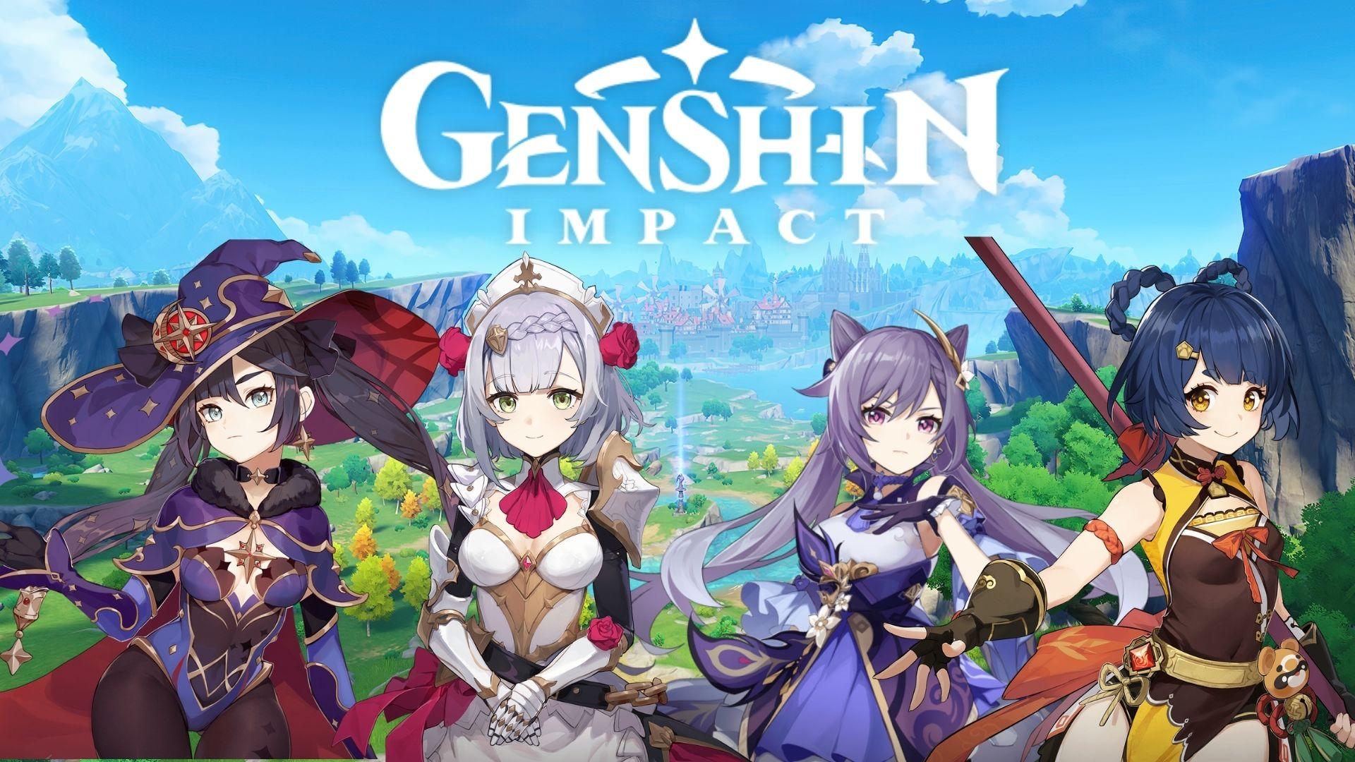 Genshin Impact characters next to the logo