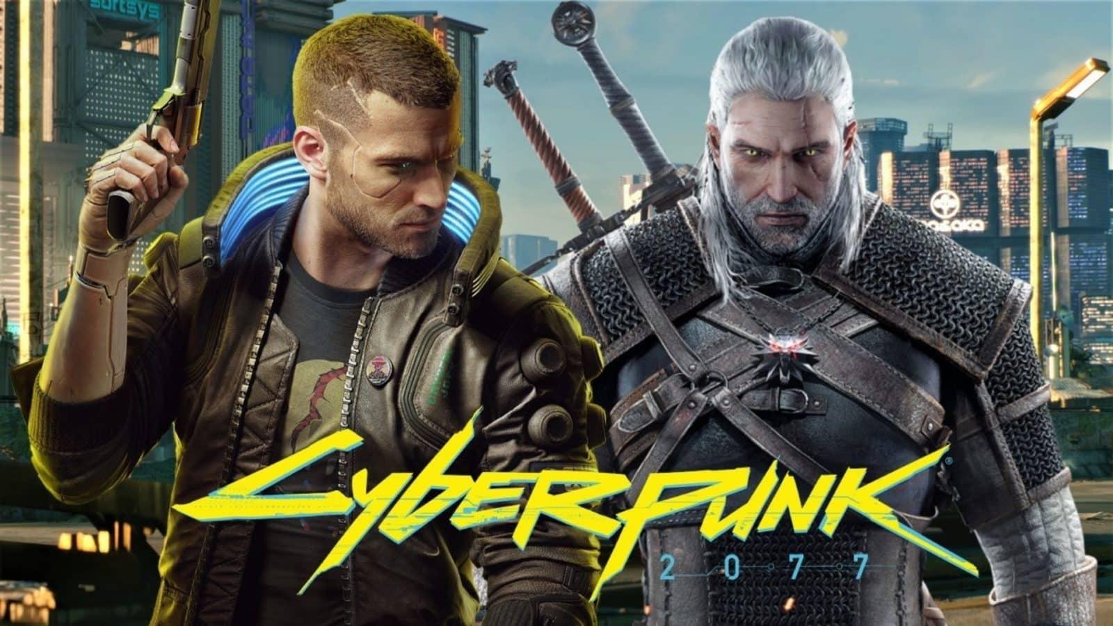 V and Geralt in Cyberpunk 2077