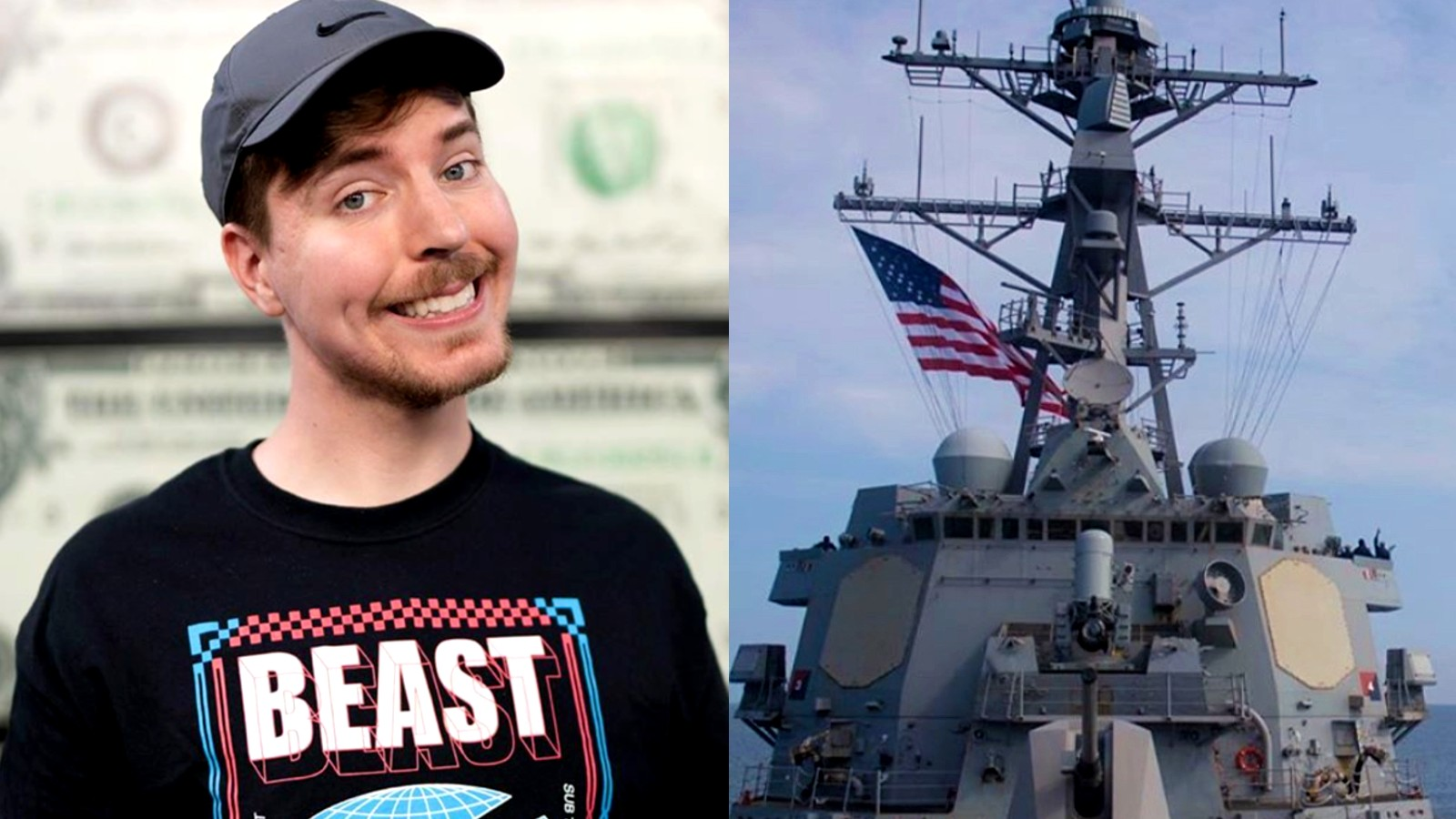 Image of Mr Beast standing next to image of US Navy ship