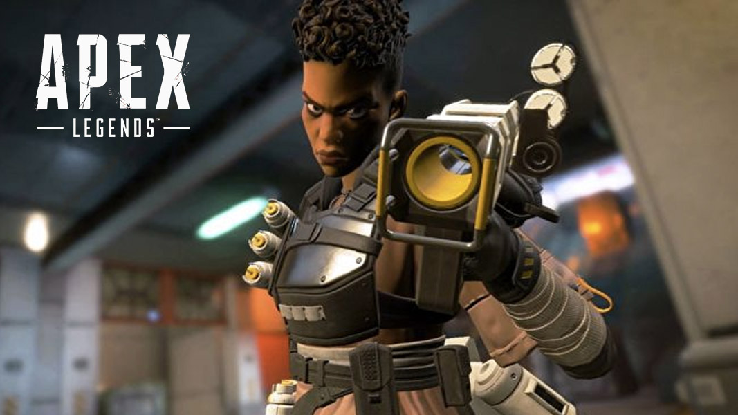 Bangalore in Apex Legends pointing her smoke grenade