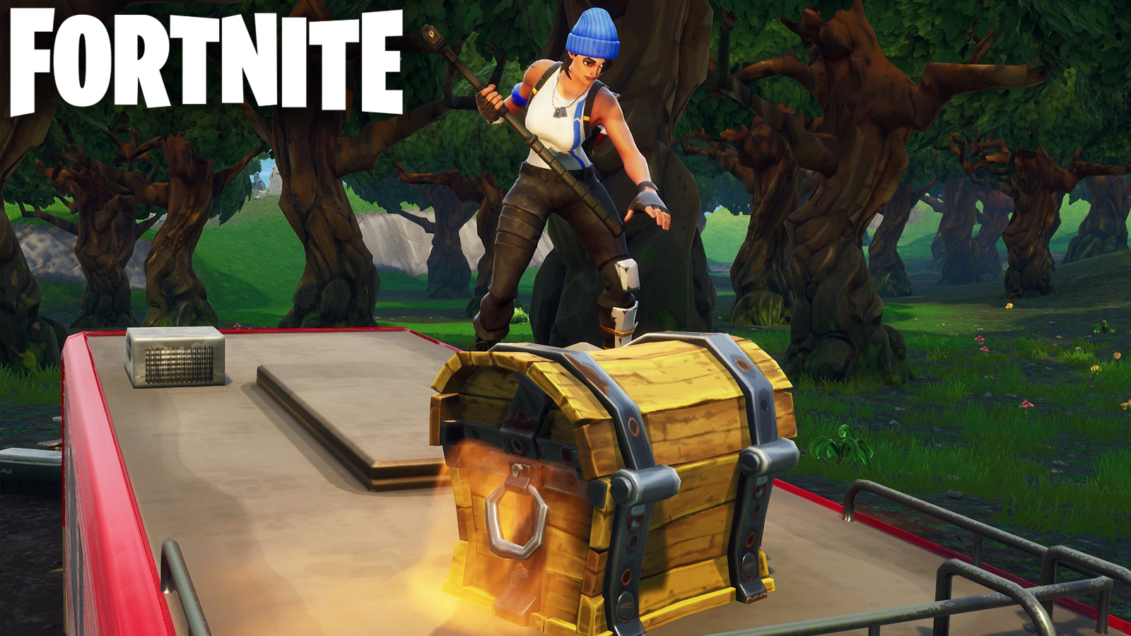 Fortnite character opening a chest.