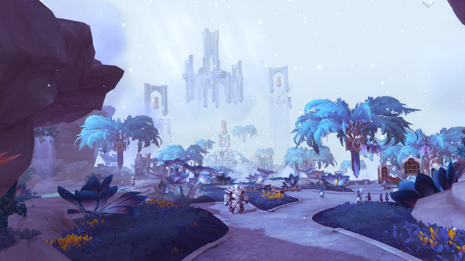 Bastion's zone in WoW, showcasing beautiful celestial buildings