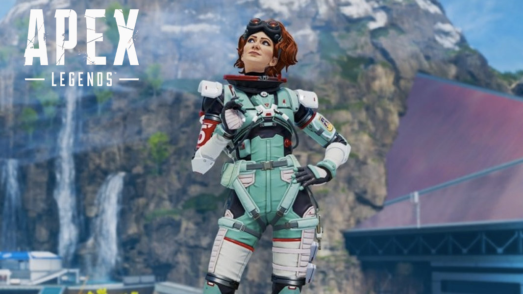 Horizon standing near Research Basin on Olympus in Apex Legends