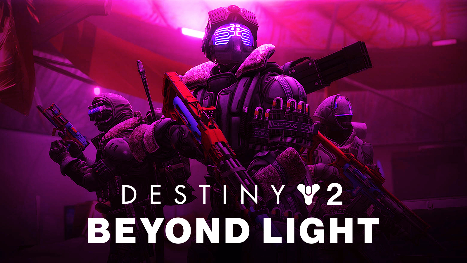 Three Destiny 2 Guardians pose with Splintered Triumph titles in Beyond Light.