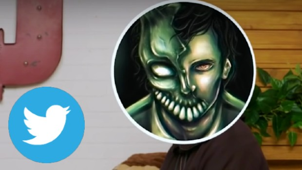 Corpse Husband's logo in a circle over his face, by the Twitter logo