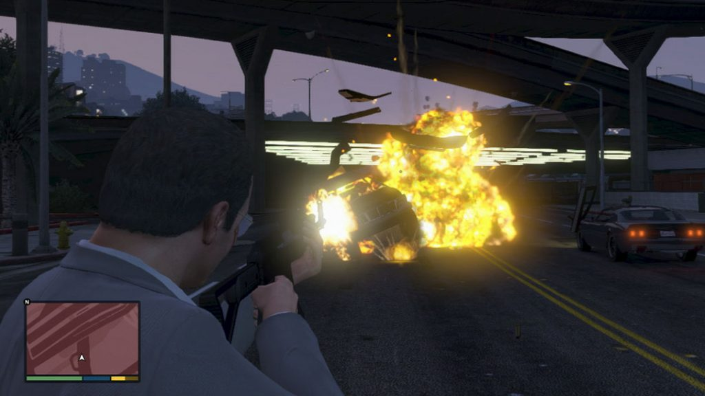 Michael with exploding bullets cheat in gta