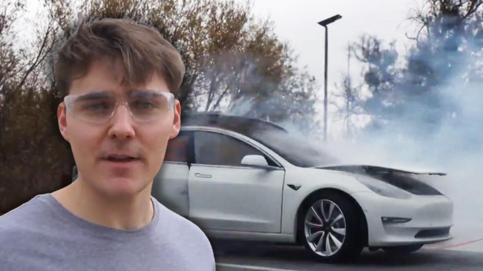 Alex Ernst blows up his Tesla to celebrate GameStop stocks