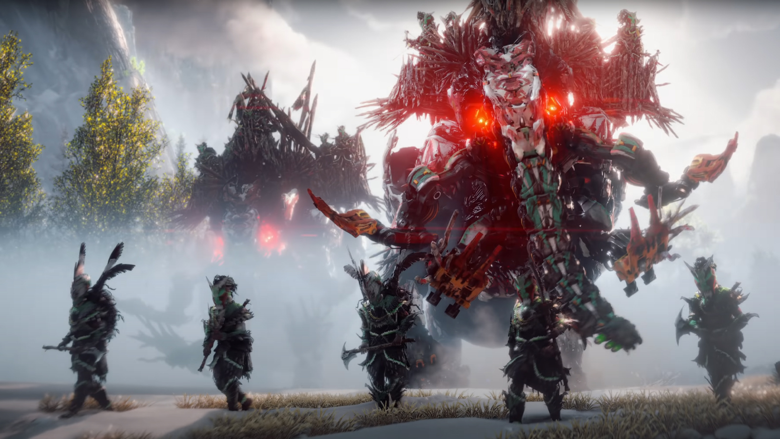 Four people stand armored in front of a gigantic mechanical creature, surrounded by fog