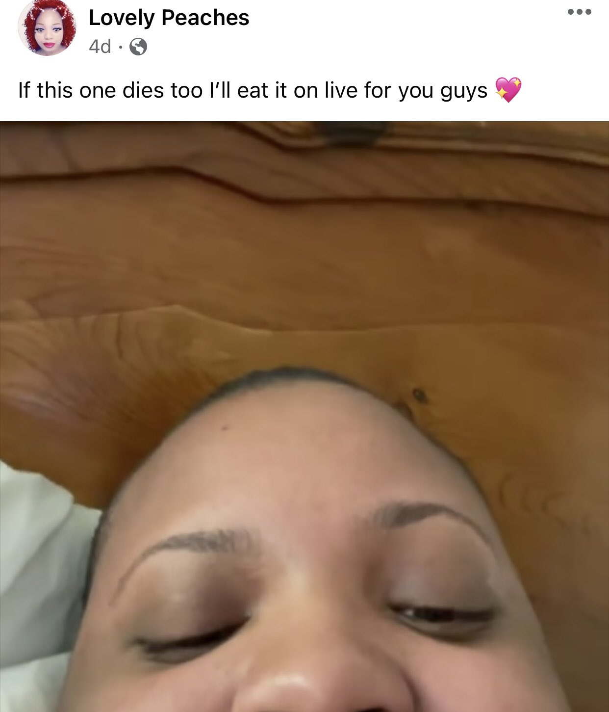 Lovely Peaches threatens to eat her dog if it passes away.