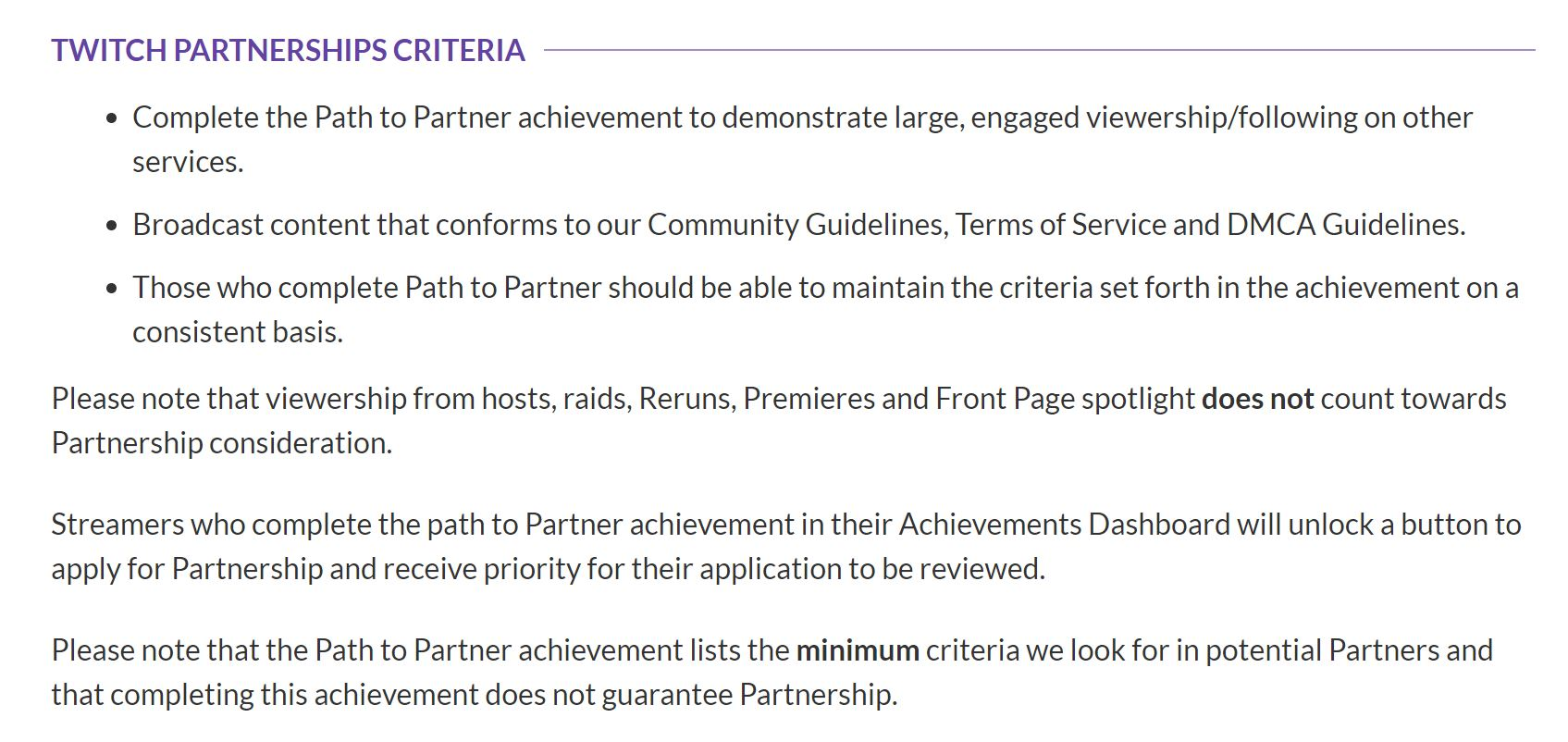Twitch Partner Requirements