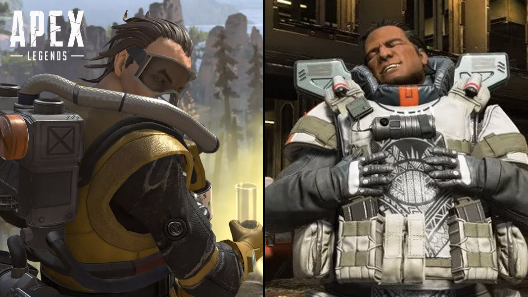 Caustic and Gibraltar side-by-side in apex legends