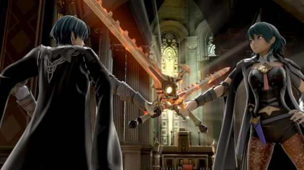 Byleth in Smash Ultimate clashes swords