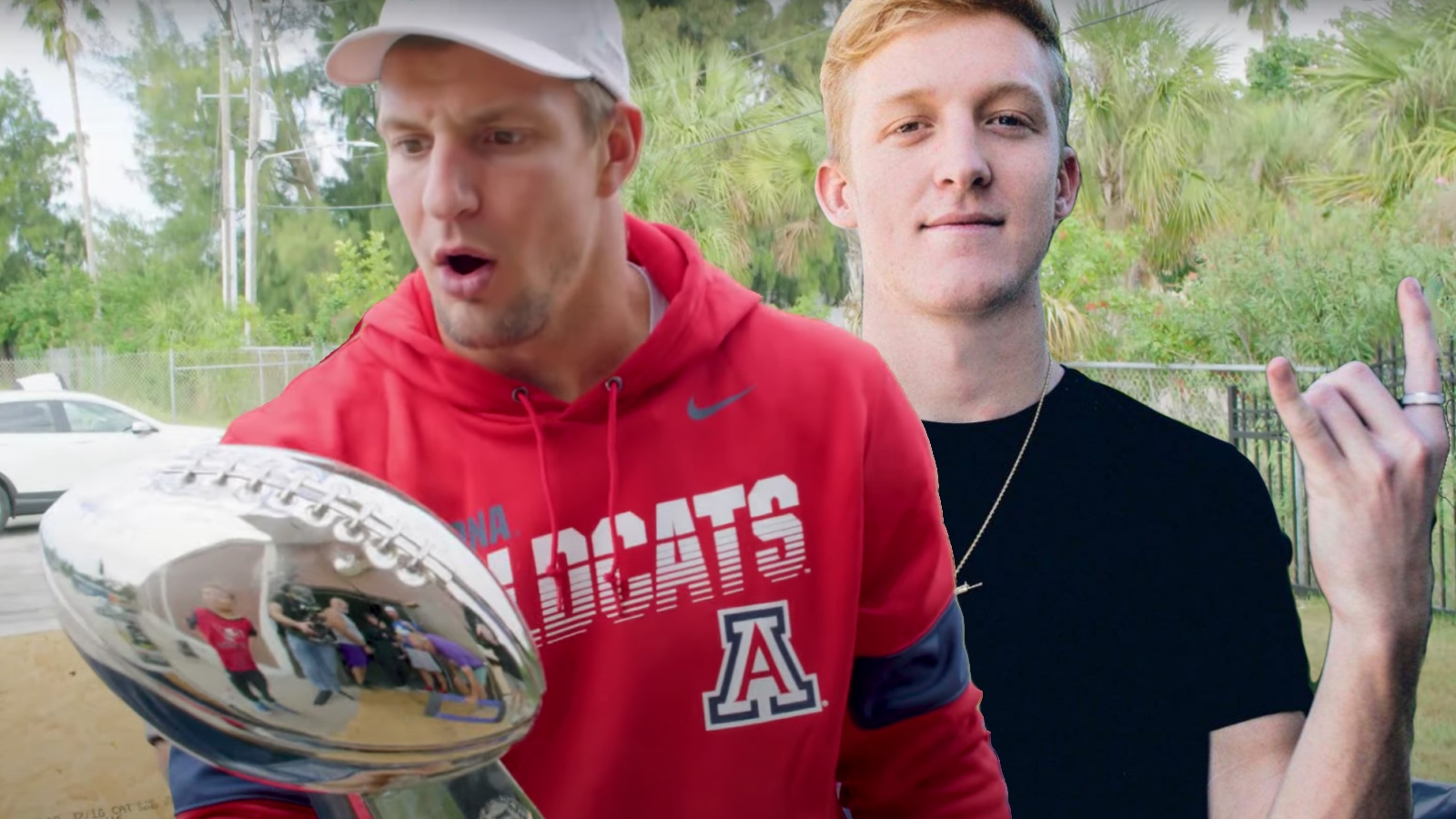 rob gronkowski and tfue with super bowl trophy