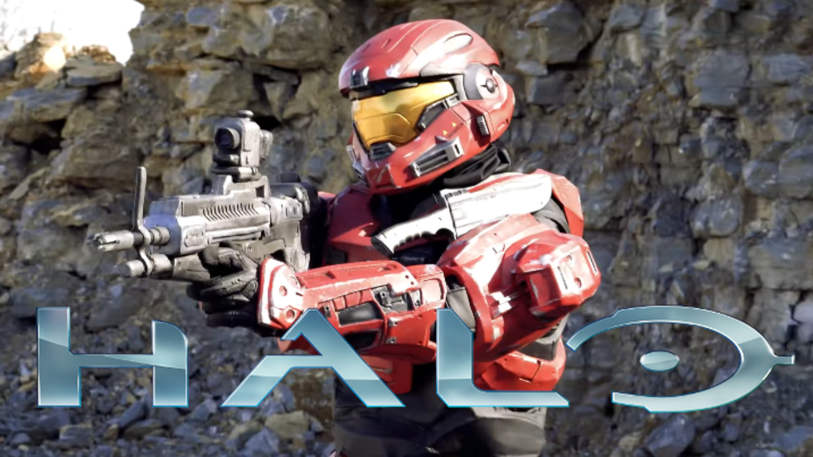 Red Spartan Halo reach cosplay with armor