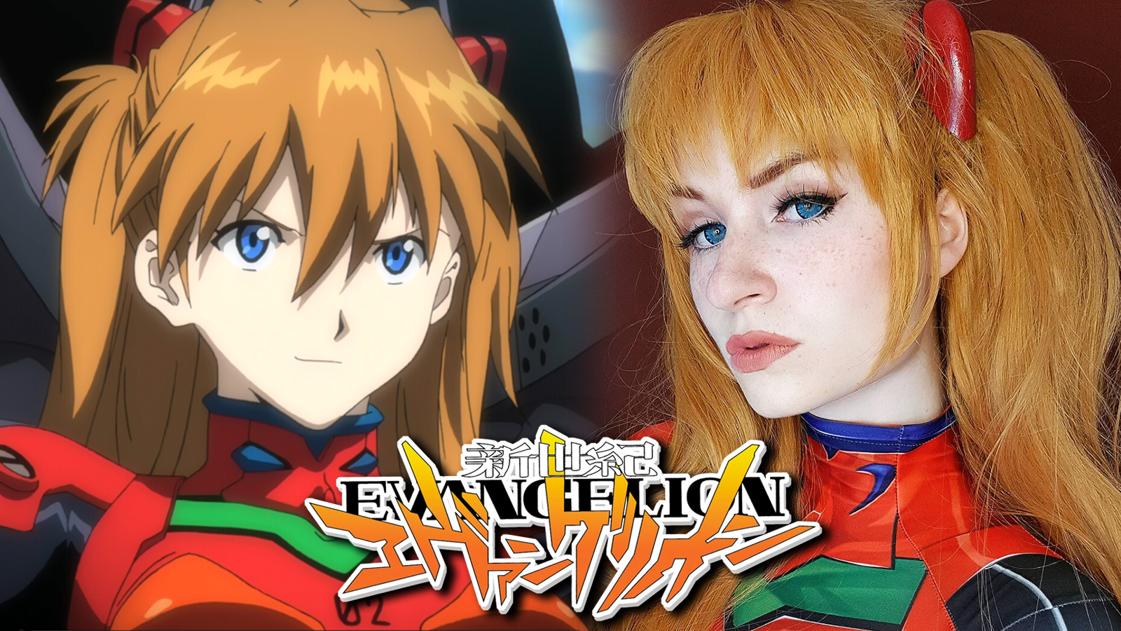 Asuka Langley from Evangelion anime next to cosplayer.