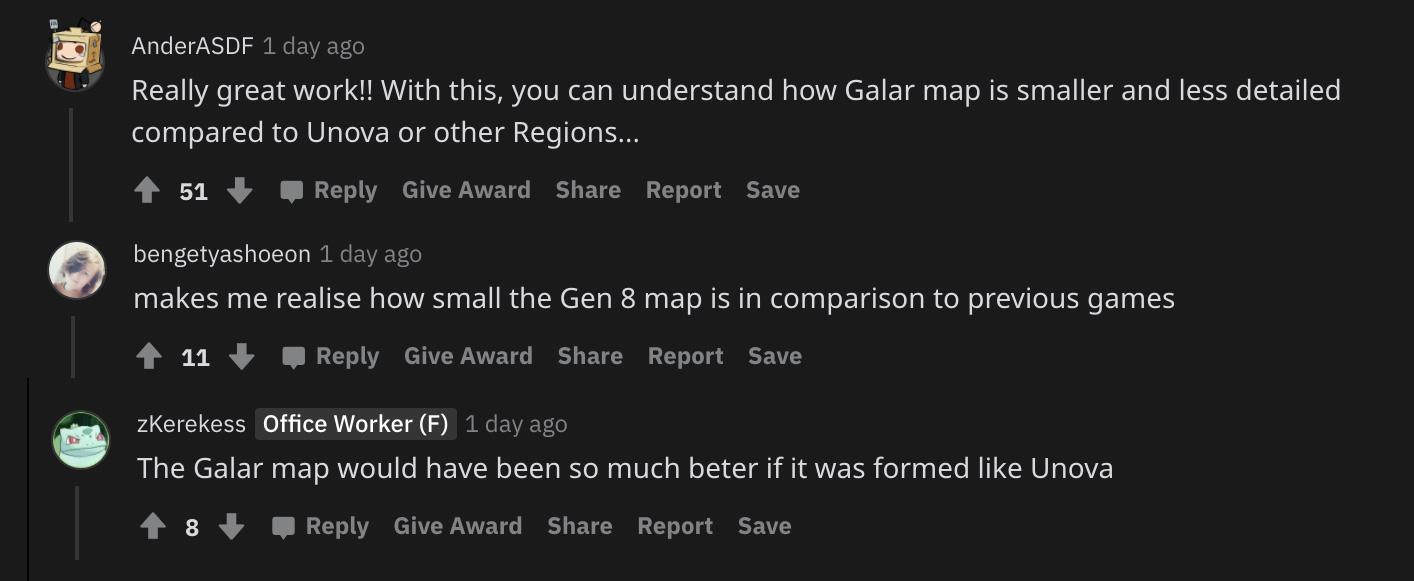 Screenshot of Pokemon players reacting to Unova Sword & Shield crossover map.