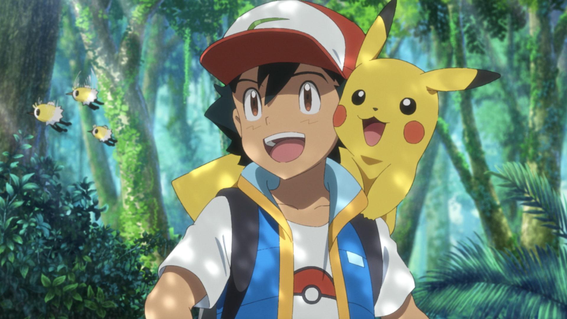 Screenshot of Ash Ketchum and Pikachu in Pokemon Secrets of the Jungle movie.