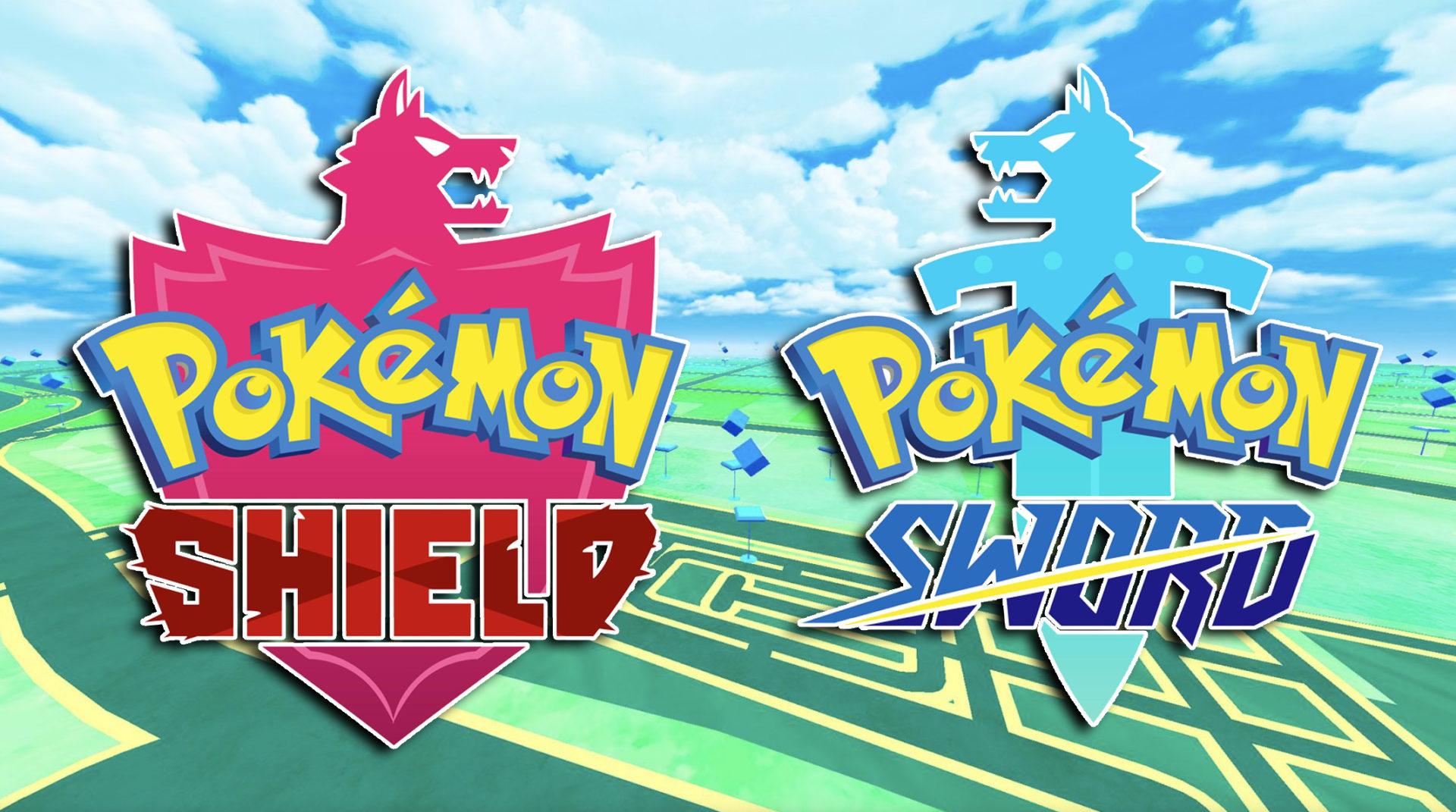 Screenshot of Pokemon Sword & Shield logo over Go background.