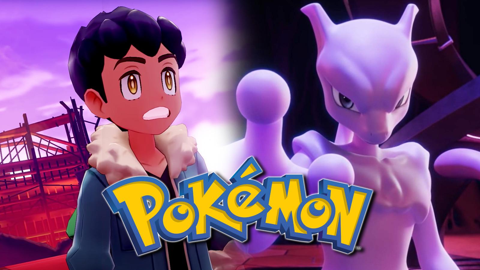 Screenshot of Pokemon Sword & Shield rival Hop next to Legendary Mewtwo.