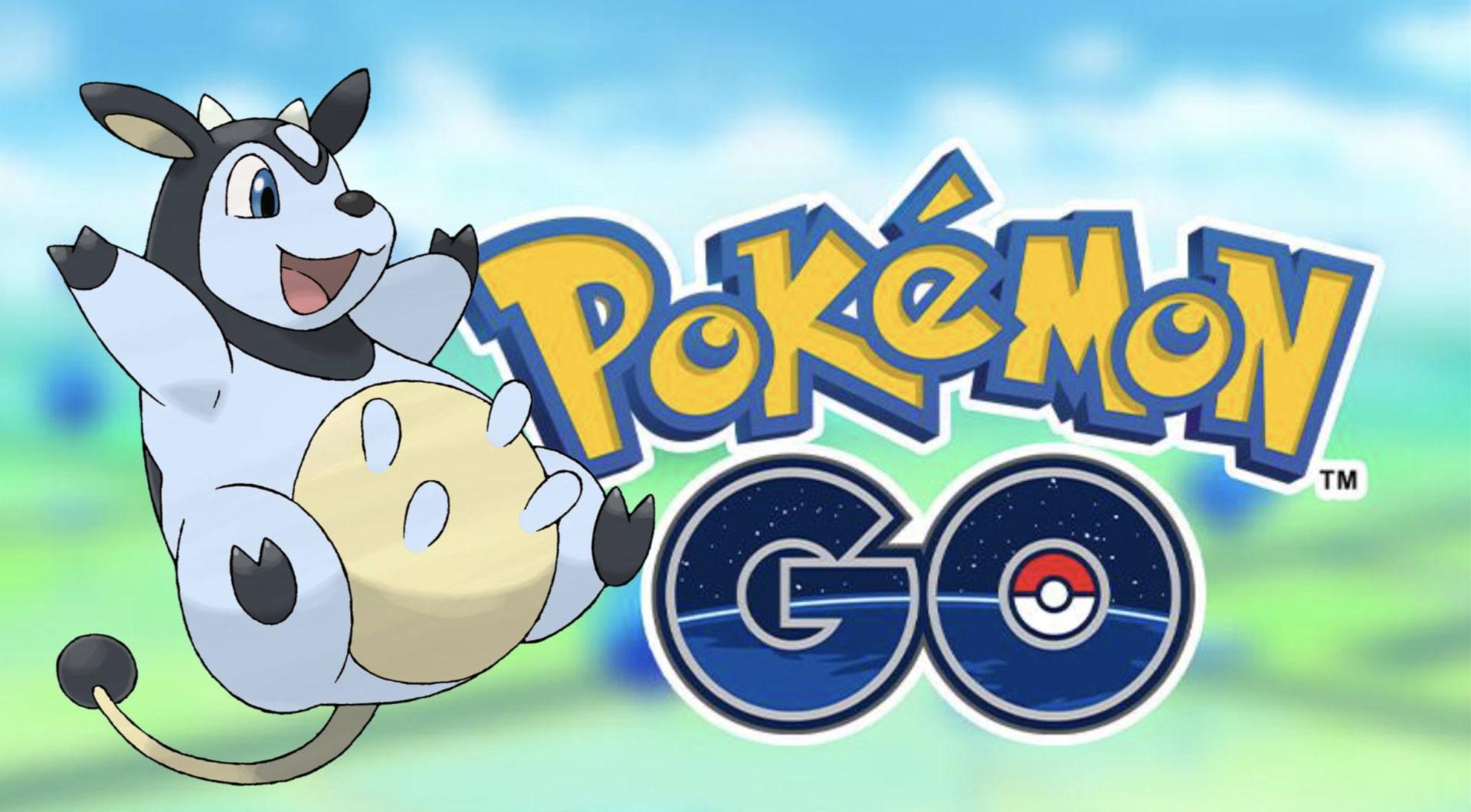 Screenshot of Shiny Miltank next to Pokemon Go logo.