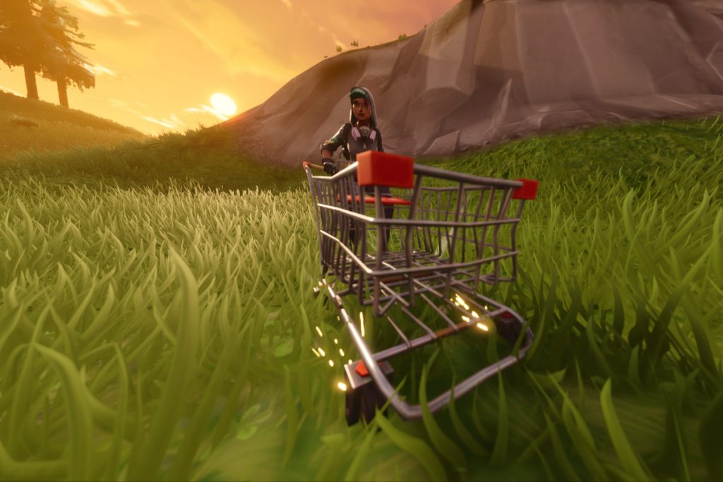 Fortnite gameplay with a shopping cart