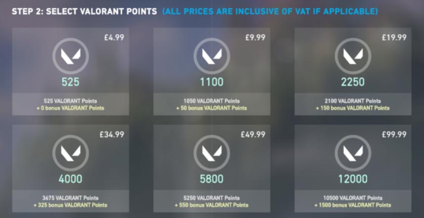 Valorant Store VP Points