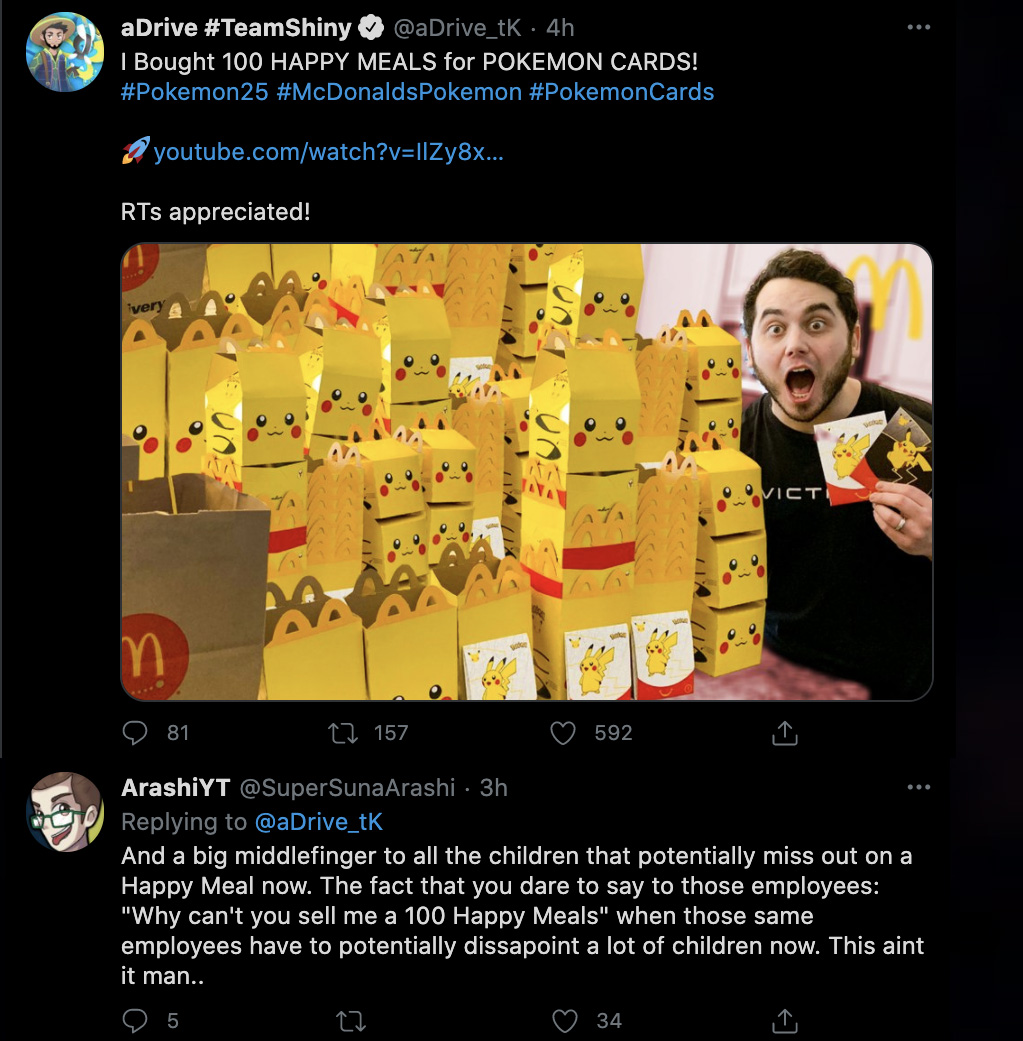 Screenshot of Pokemon fan angry at YouTuber for buying 100 Happy Meals for Pokemon 25th Anniversary.