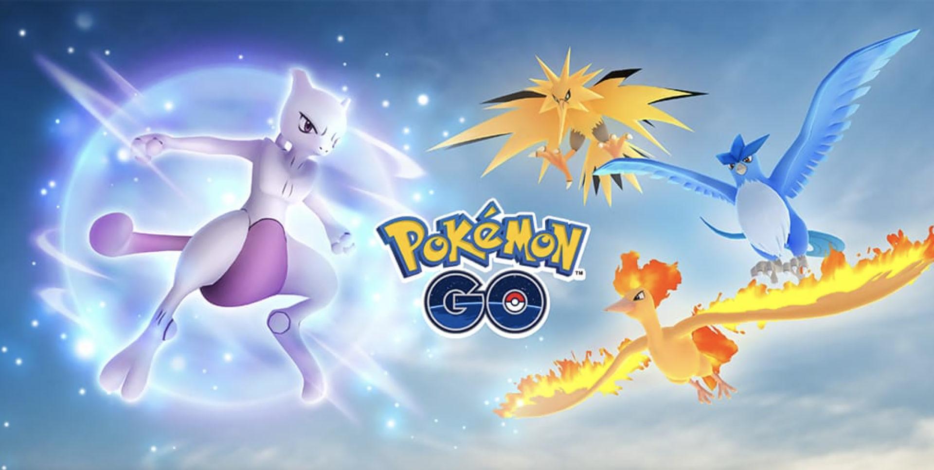Screenshot of Mewtwo & Legendary Bird Trio raid in Pokemon Go.