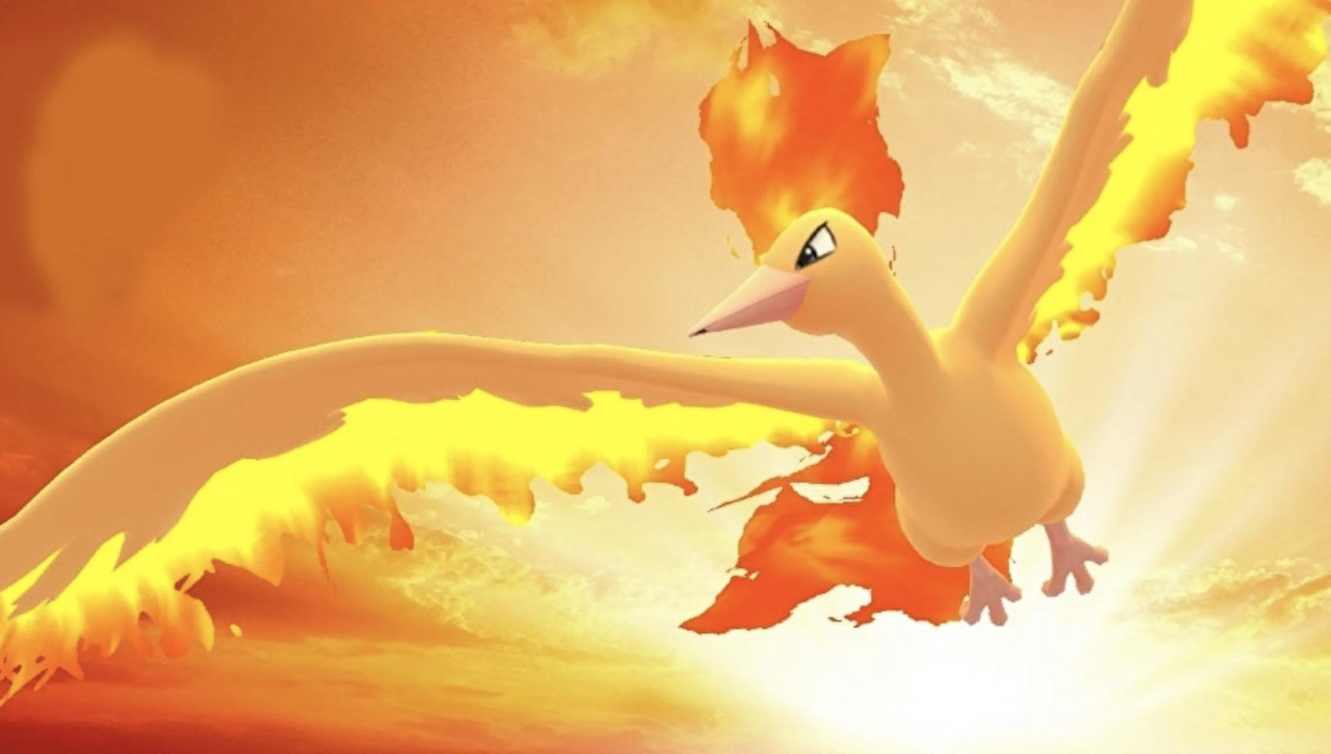 Screenshot of Gen I Legendary Moltres in Pokemon Go.