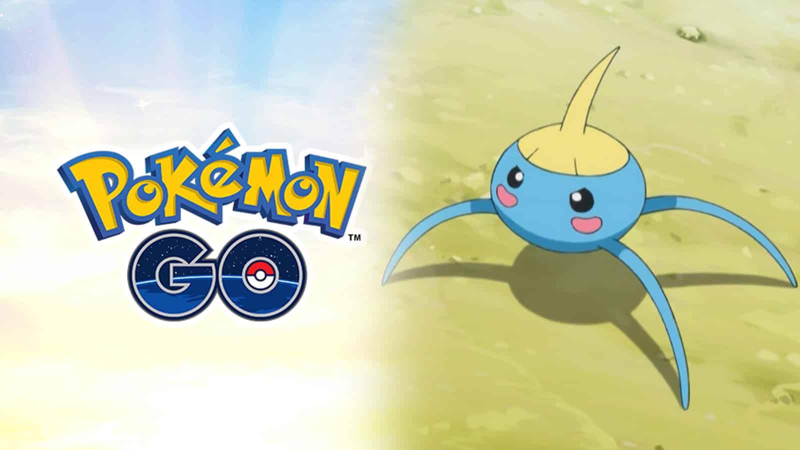 Screenshot of Pokemon Go logo next to Surskit from Pokemon anime.