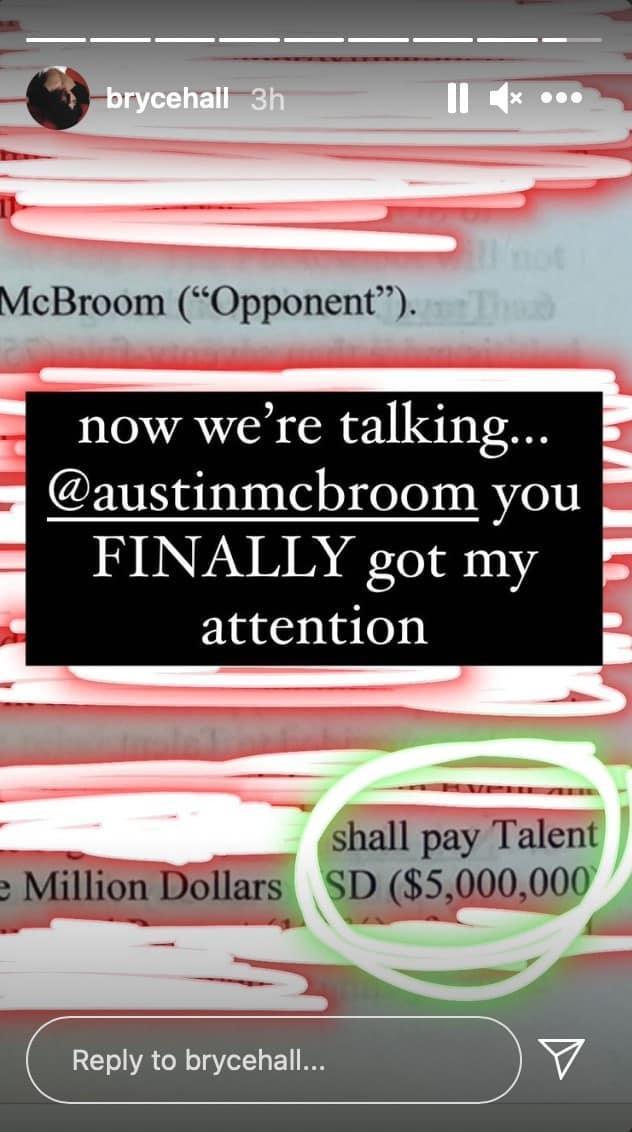 Bryce Hall responds to AUstin McBroom's fight offer
