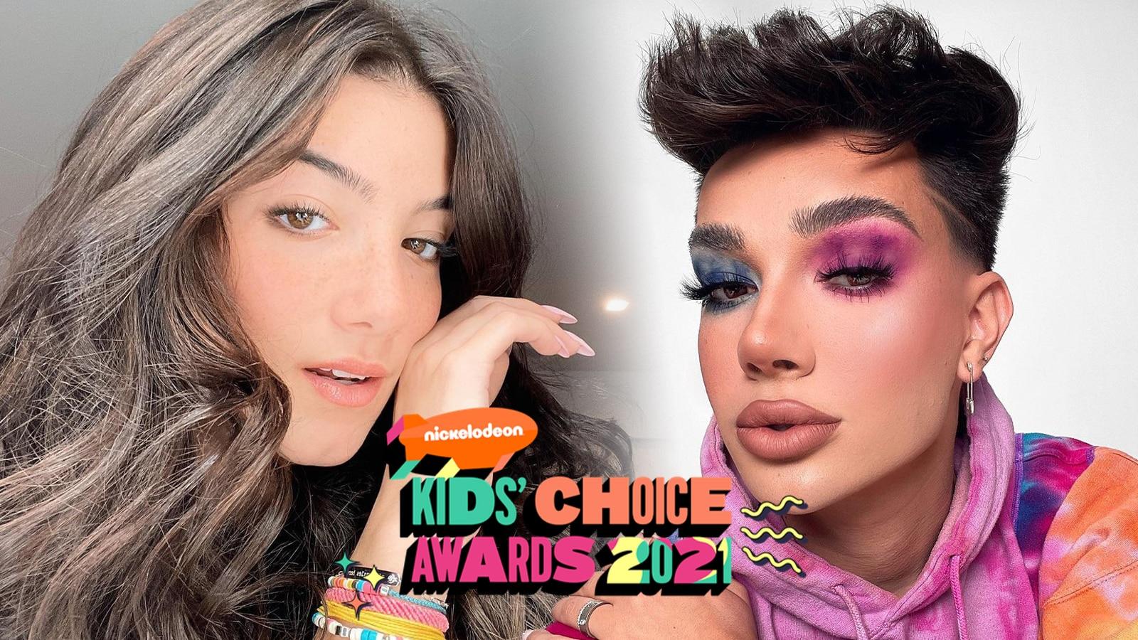 Charli D'Amelio and James Charles winning Kids Choice Awards 2021