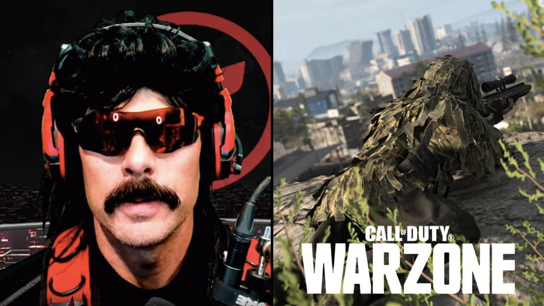 Dr Disrespect side by side with a Warzone sniper