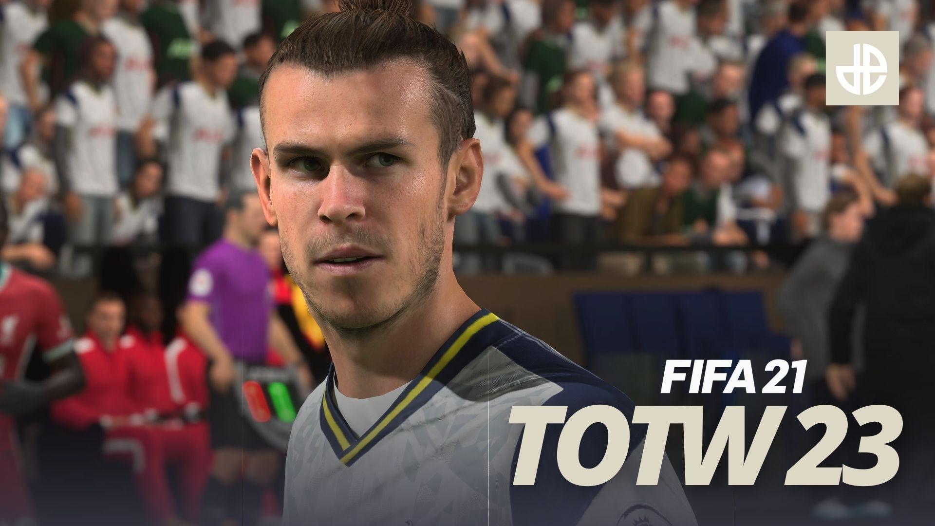 Gareth Bale Tottenham stands over FIFA 21 TOTW 23 Team of the Week.