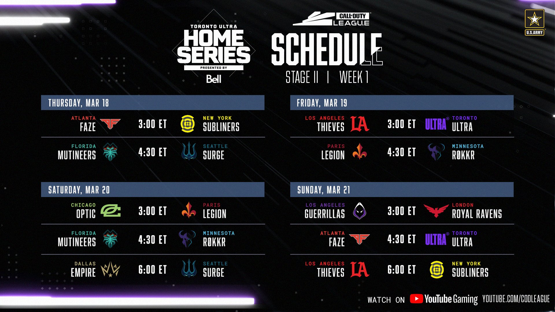 CDL Stage 2 Week 1 schedule