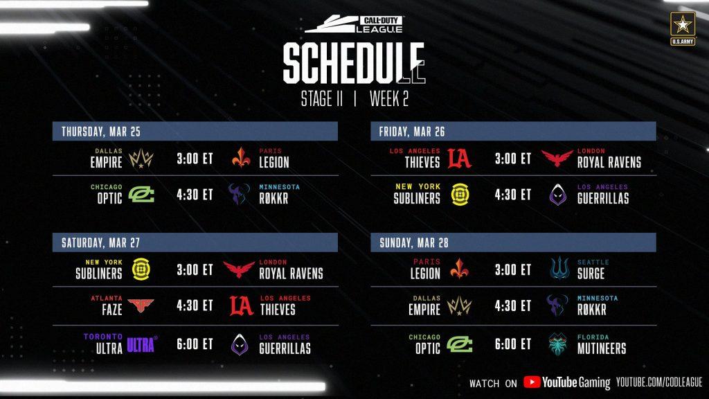 CDL Stage 2 Week 2 schedule
