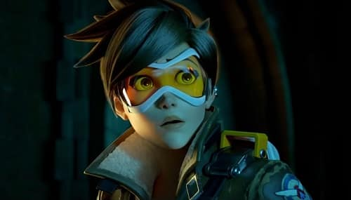 Tracer looks on very concerned
